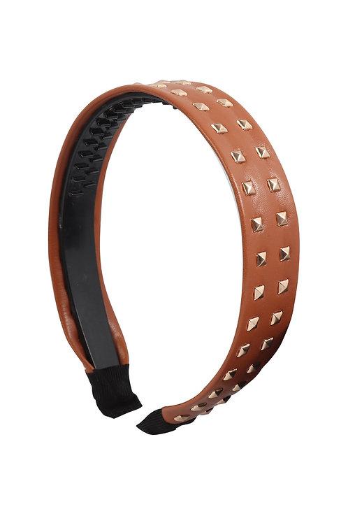 Light Brown Leather With Stud Fashion Headband