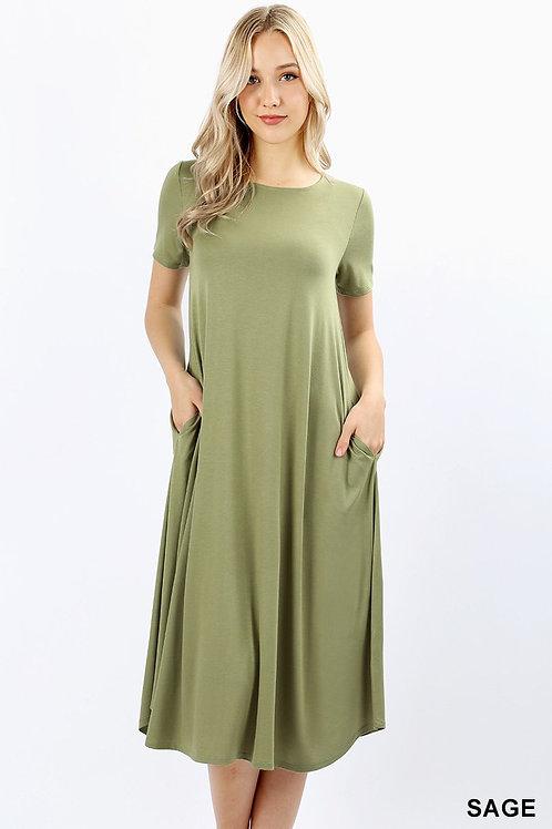 Short Sleeve Viscose Round Neck Pocket Dress