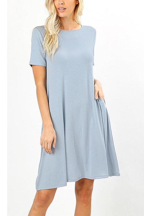 Short Sleeve Flared Pocket Dress