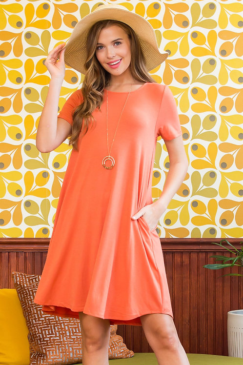 Round Hem A-Line Pocket Dress