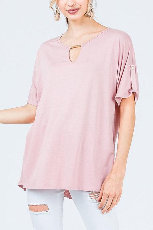Short-Sleeve Round-Neck Top Sleeve Cuff Detail