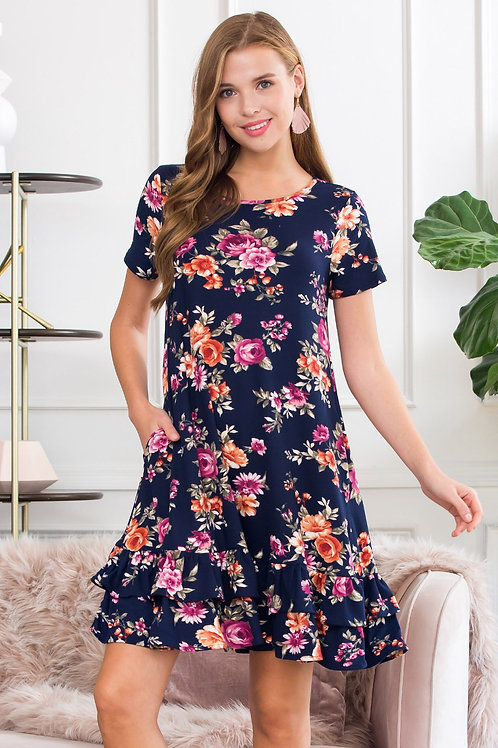 Short Sleeved Floral Midi Ruffled Dress