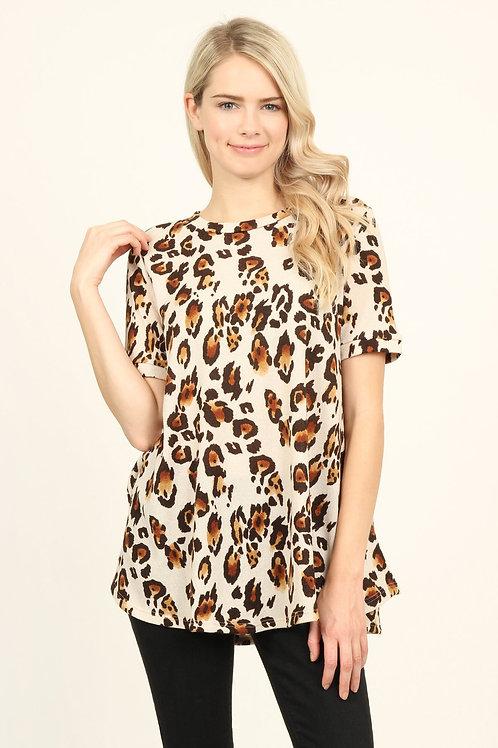 Short Sleeve Leopard Knit Sweater