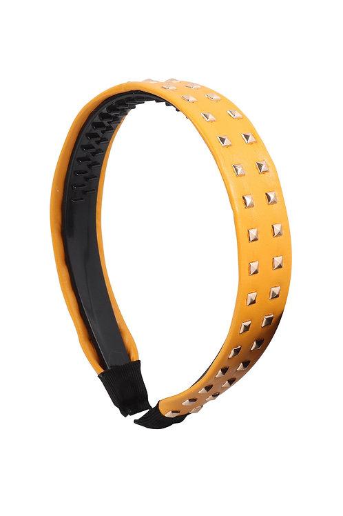 Mustard Leather With Stud Fashion Headband
