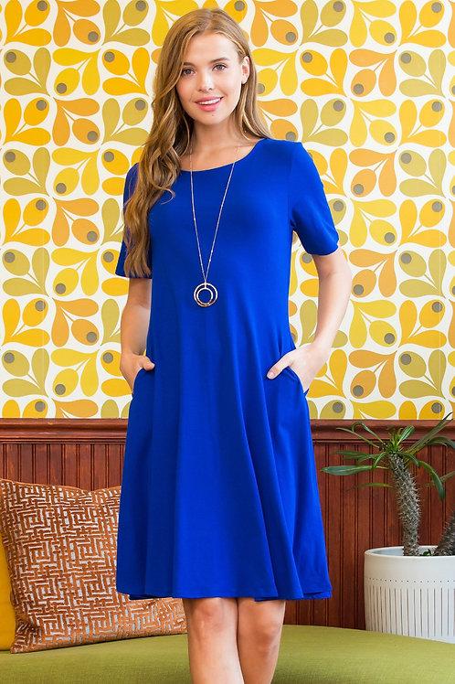 Short Sleeve A-Line Pocket Dress