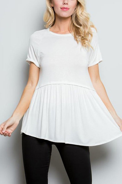 Solid Short Sleeves With Pleated Hem