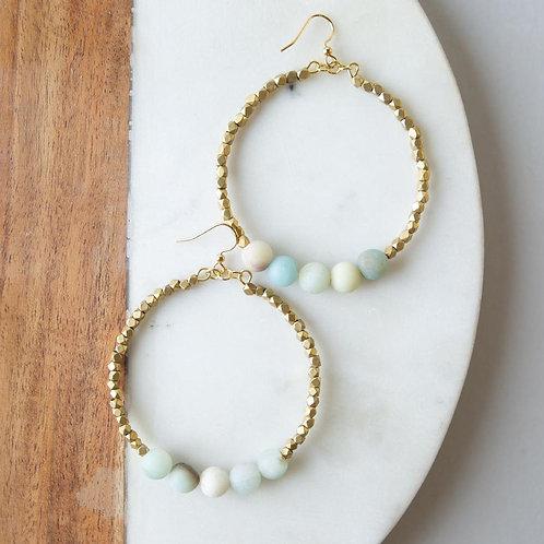 Gemstone Golden Row Earrings