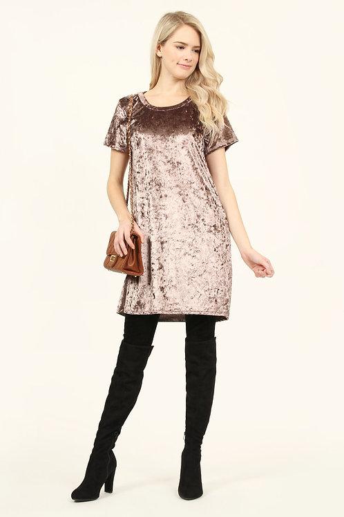 Short Sleeve Crushed Velvet Tunic Dress