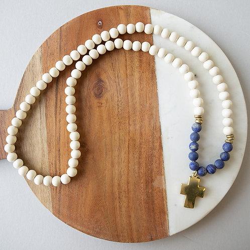 Gemstone Cross Necklace-Lapis Lazuli