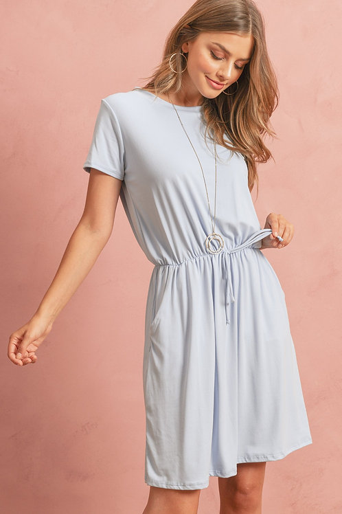 Cinch Waist Ribbon Detail Short Sleeves Solid Dress