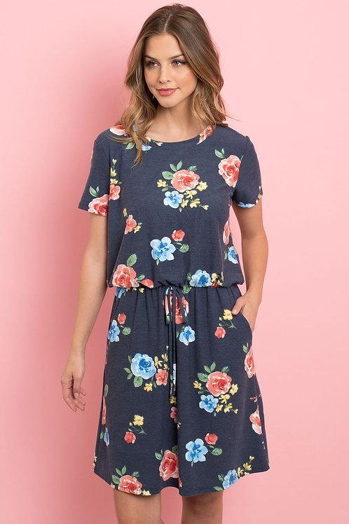 Cinch Waist Pocket Floral Dress