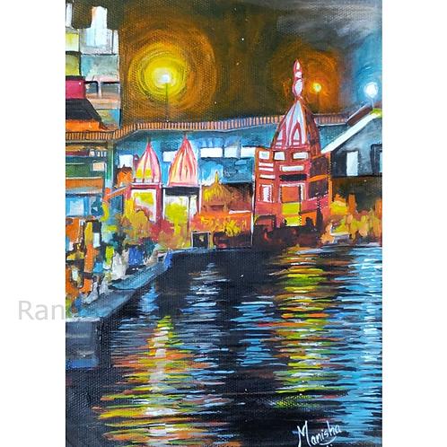 Varanasi Ghat | Acrylic on Paper