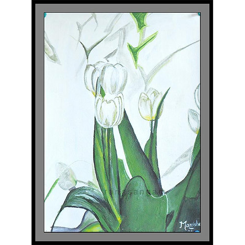 White Tulips | Acrylic on Paper