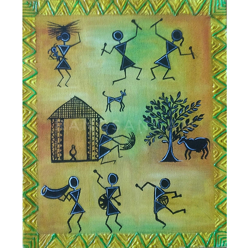 Warli Art | Acrylic on Canvas