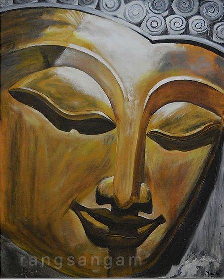 Oil Painting of Buddha Sculpture