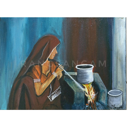Village Life-1 | Acrylic on Canvas
