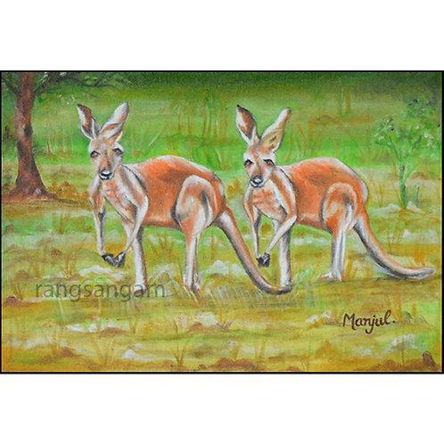 Kangaroos   Oil on Canvas