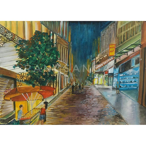 The Mall   Watercolor on Paper
