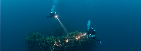 Image from wreck with two divers