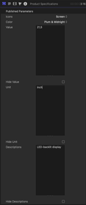 Snapshot for plug-in PRODUCT SPECIFICATIONS Inspector panel