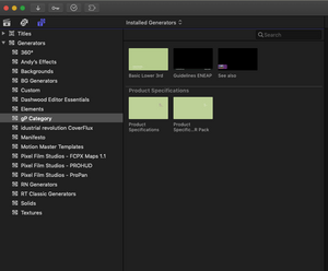 Snapshot for fcpx Installed Generators panel