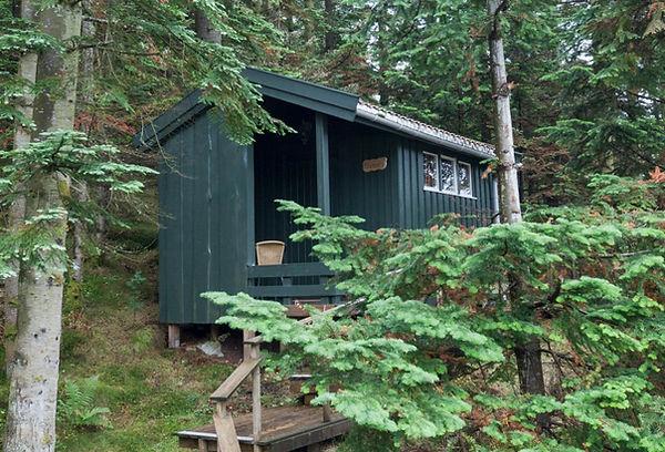 Stusseli, en grønn liten hytte mellom grønn trær.