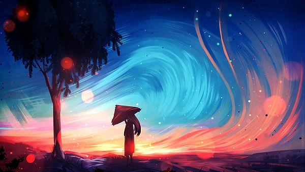 Art-painting-girl-tree-umbrella-sky_1920