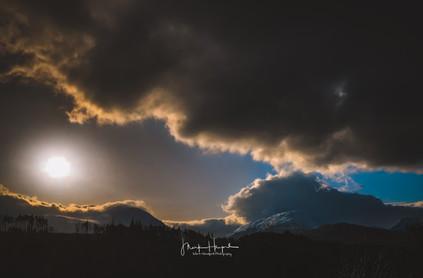 Dark winter scene, next to the River Spean in the highlands of Scotland.
