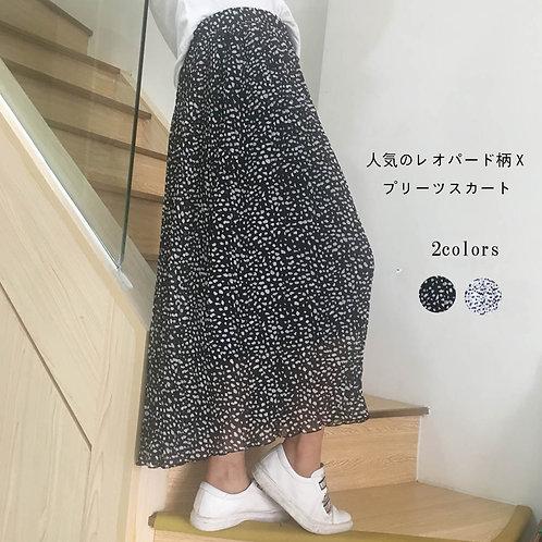 プリーツスカートレオパード柄ロングスカート