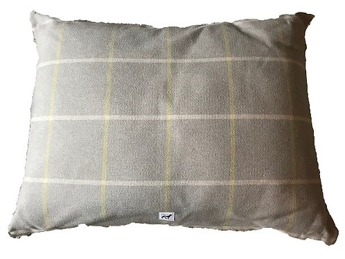 Luxurious Large Pillow Dog Bed - Grey Harris Tweed Check