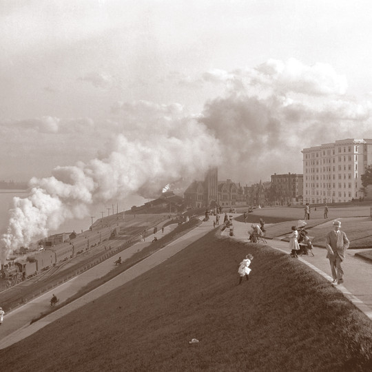 Lakefront with Steam Train