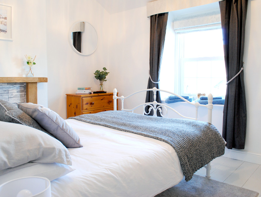 Double bed with sea views