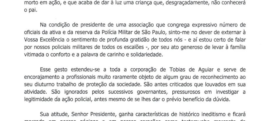 AOPM/SP comenta visita do presidente Bolsonora à viúva grávida de PM morto em serviço