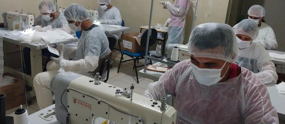 Detentos produzem máscaras para forças de segurança do MS