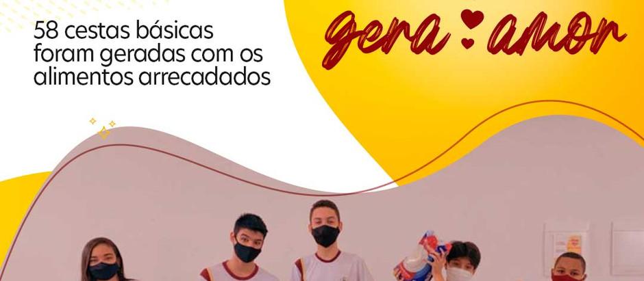 Campanha Amor Gera Amor gerou 58 cestas básicas. Doação foi feita no bairro Cristal.