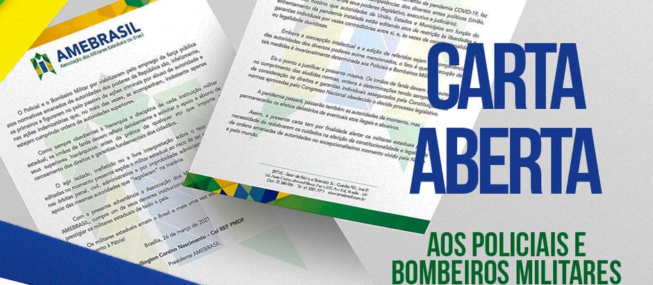 AMEBRASIL publica Carta Aberta destinada aos policiais e bombeiros militares do Brasil