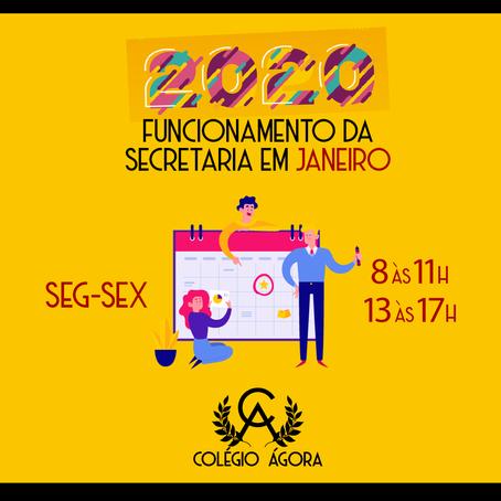 2020: Funcionamento da Secretaria em Janeiro