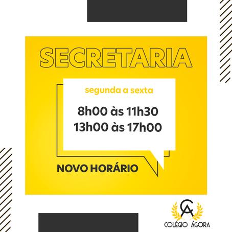 Novo horário da Secretaria