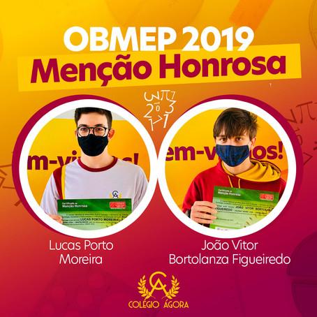 Alunos do Ágora recebem Menção Honrosa do OBMEP 2019