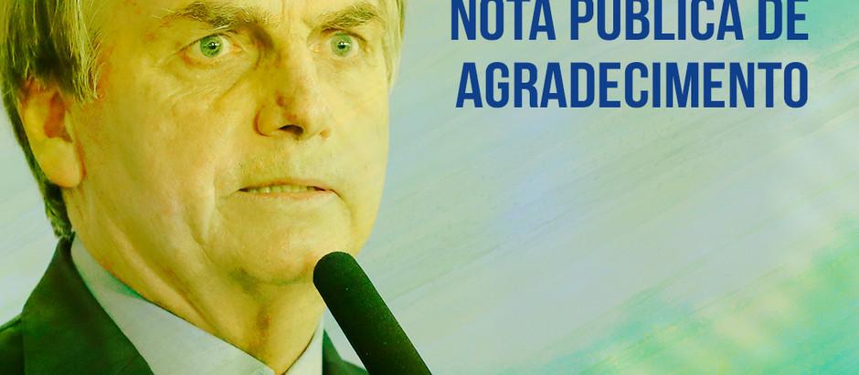 Nota de agradecimento dos Policiais e Bombeiros Militares do DF ao Presidente Jair Bolsonaro