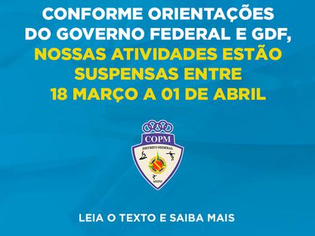 Nossas atividades estão suspensas até 1º de abril
