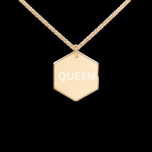QUEEN - Engraved Hexagon Chain Necklace