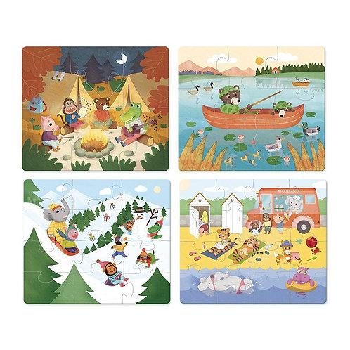 "4 puzzles évolutifs ""Les vacances"""