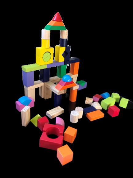 Jeux de construction en bois couleurs