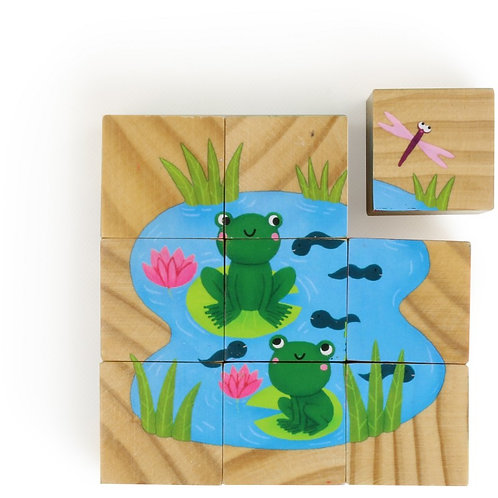 Cubes en bois les animaux