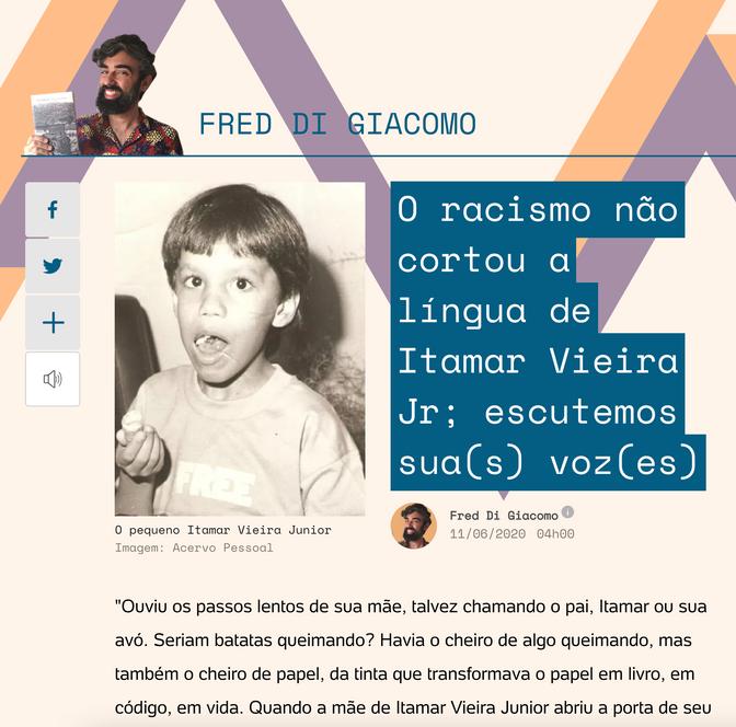 Itamar Vieira Junior na coluna de Fred Di Giacomo