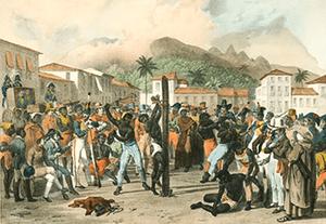 Séc XIX, escravo sendo castigado