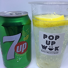 咸檸七  7-Up with salty lime (with or without ice)