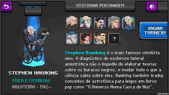Informação + diversão: tela de seleção de personagens