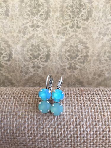 fef38039d Swarovski Custom Lt.Turquoise Matte 2 Drop Earring